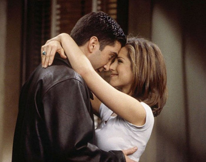 Jennifer Aniston y David Schwimmer en la serie de friends
