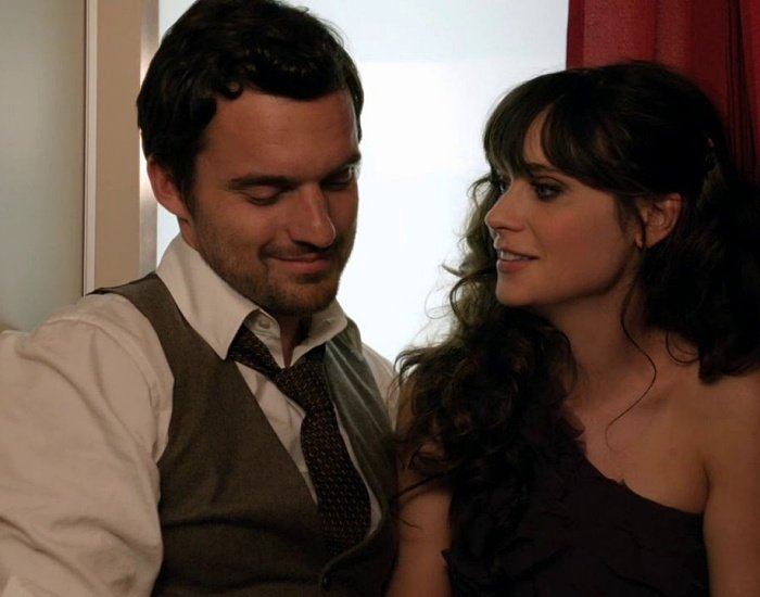 Zooey Deschanel y Jake Johnson en la serie de new girl