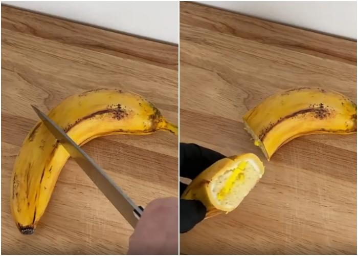 Pastel en forma de plátano