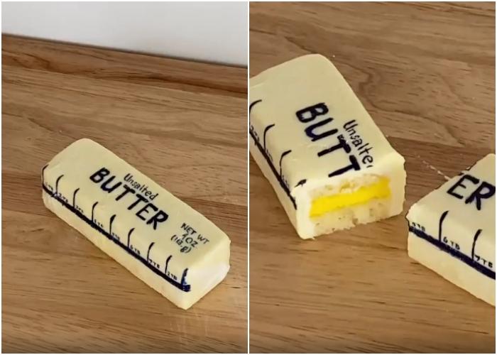 pastel en forma de barra de mantequilla