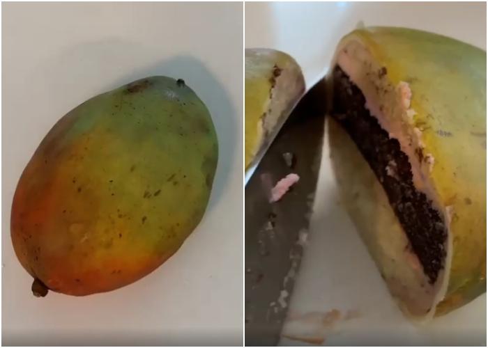 pastel en forma de mango