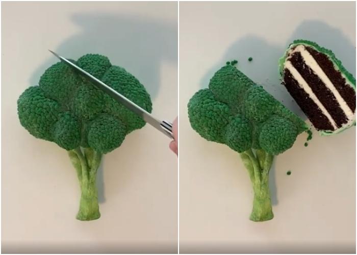 pastel en forma de brocoli