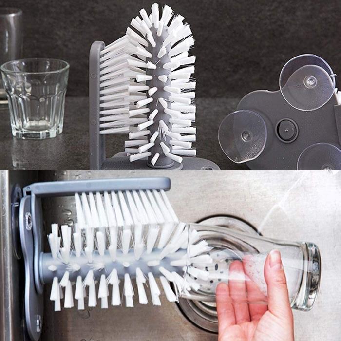 cepillo doble para lavar vasos o recipientes angostos de manera mucho más fácil