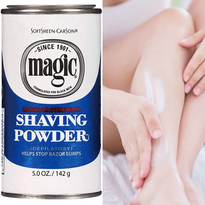 polvo para depilar las piernas, axilas, brazos, sin necesidad de rastrillo