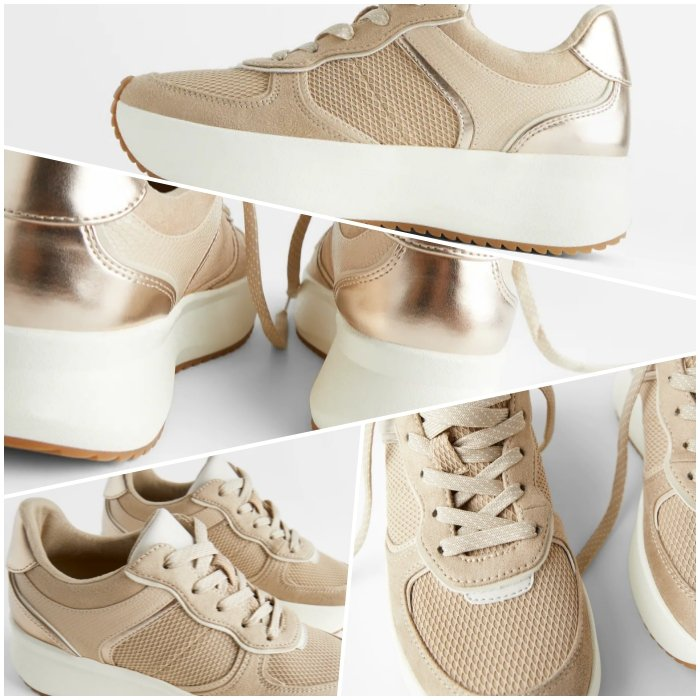 beige sports sneakers with chrome details and white sole