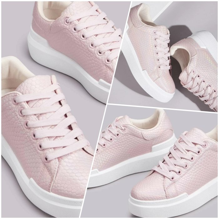 pastel pink sneakers with reptile texture and chunky white sole