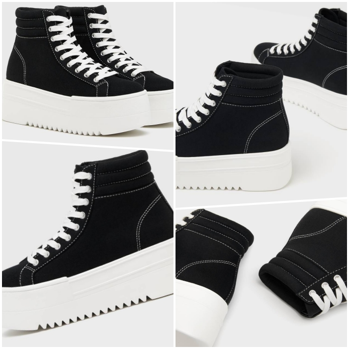 converse sneakers with black platform with white sole