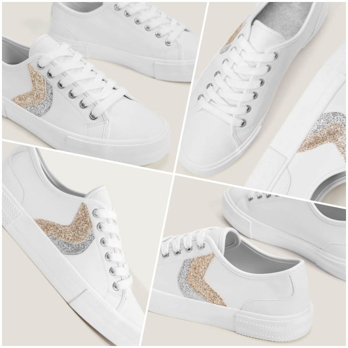 white sneakers with white sole and details in gold and silver with glitter