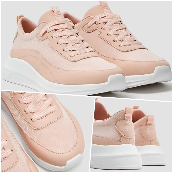 pastel pink sneakers with white platform