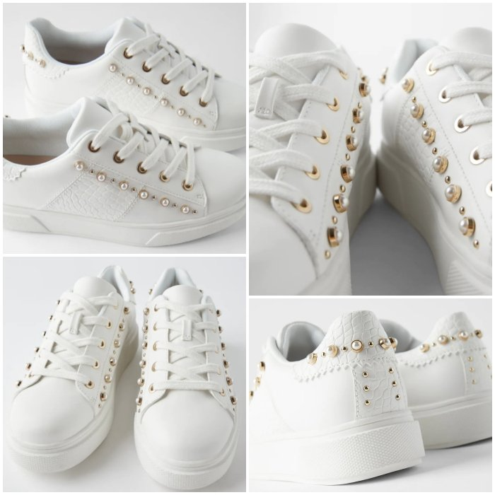 white sneakers with pearls and copper details, with texture and platform