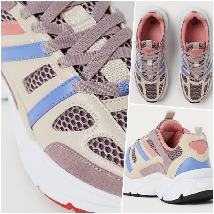 80s style multicolored sneakers in pastel tones and white platform with black