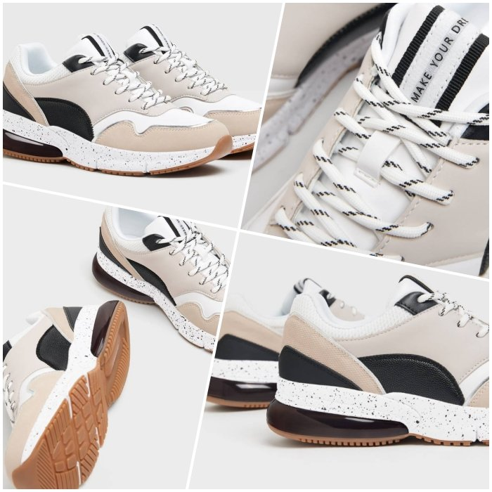 beige sneakers with different touches of dark and white, mesh texture and flexible platform