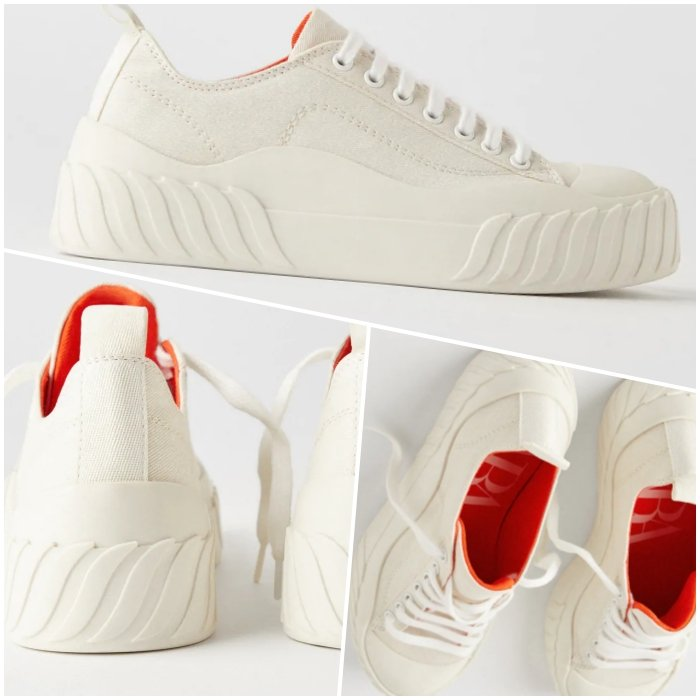 light beige platform sneakers with orange interior