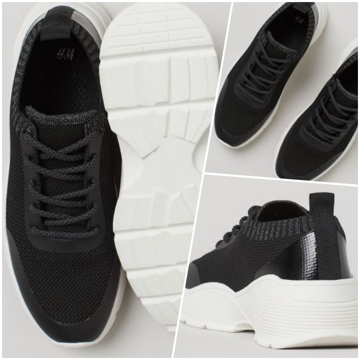black sports shoes with a white sole