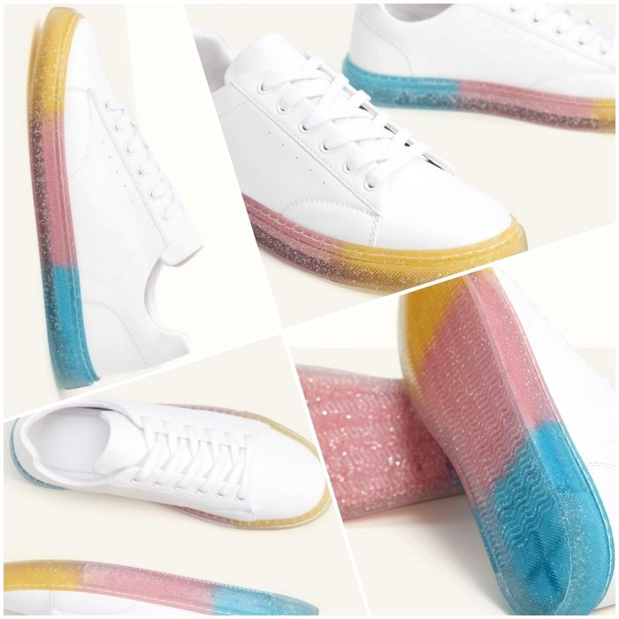pastel, yellow, blue and pink sole shoes