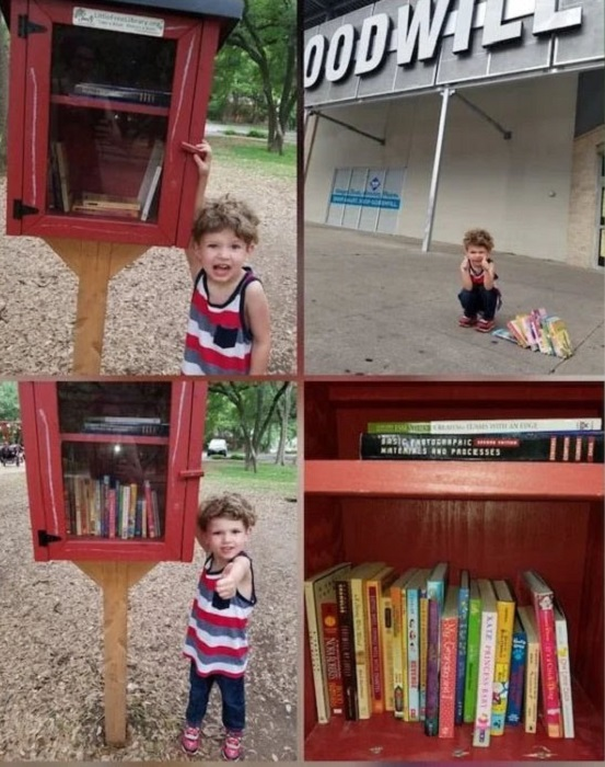 Niño dejó libros en un puesto de libros de la calle, pero que los más pequeños eligieran uno