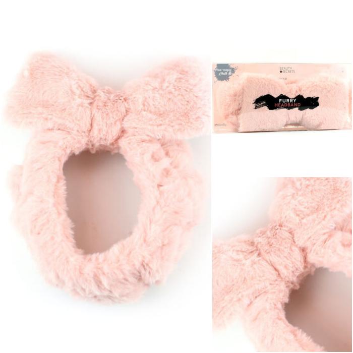 banda para el cabello diadema fluffy rosa