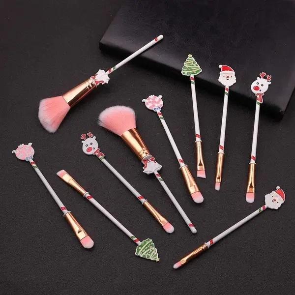 Set de brochas para maquillaje inspiradas en Navidad