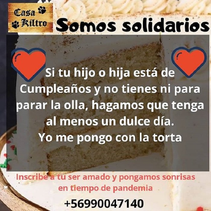Fotografía de información sobre los pasteles para los niños de escasos recursos que cumplen años en cuarentena
