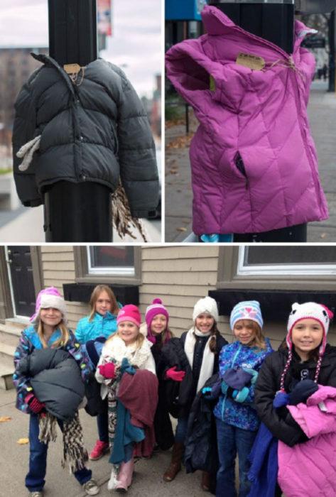 Niñas de Canadá dejan chamarras en postes de la calle para que personas sin hogar las tomen