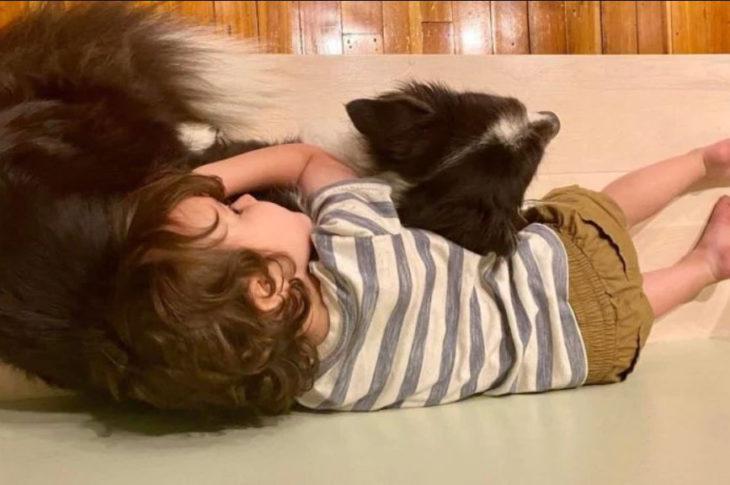 Pequeño abraza a su perro durante una tormenta eléctrica