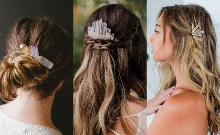 Pretty hair accessories; gemstone barrettes, gems, chingo hairstyles, half ponytail, wavy