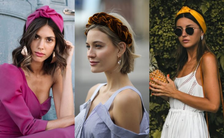 Pretty hair accessories; hairstyle with fabric headbands, pink, yellow and mustard