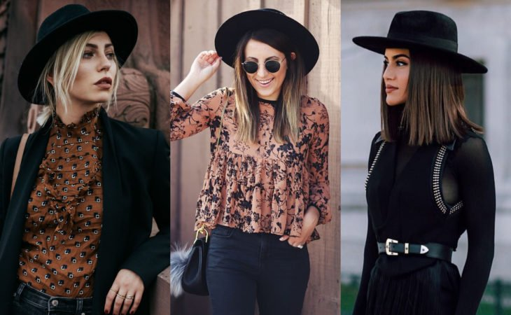 Pretty hair accessories; hairstyle with black wide-brimmed hat, bohemian