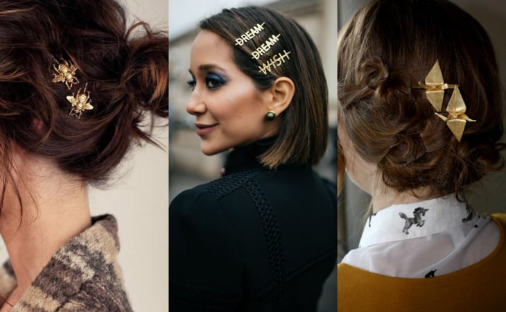 Pretty hair accessories; hairstyle with original bee brooches, words and birds, paper cranes, origami