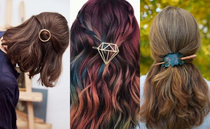 Pretty hair accessories; original circle, diamond and tree leaf barrettes for half ponytail hairstyle