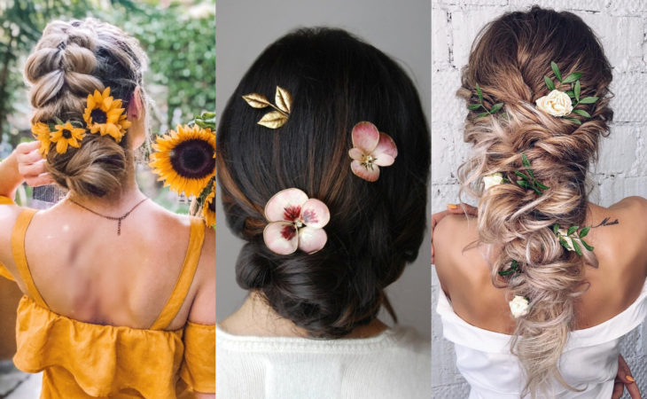 Pretty hair accessories; flower barrettes, sunflowers, roses and pansies, braid hairstyles and buns