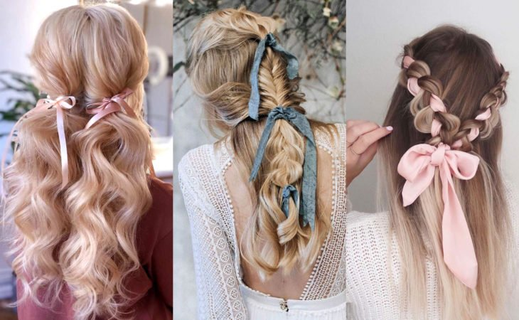Pretty hair accessories; Braids and pigtails hairstyles with ribbons