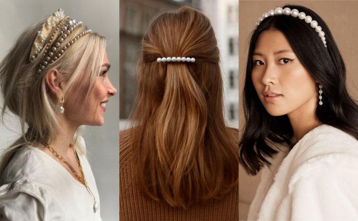 Accesorios bonitos para cabello; pasadores y diademas de perlas para peinados sueltos y media cola