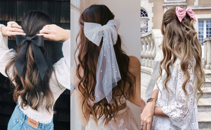 Pretty hair accessories; chignons for half ponytail hairstyle