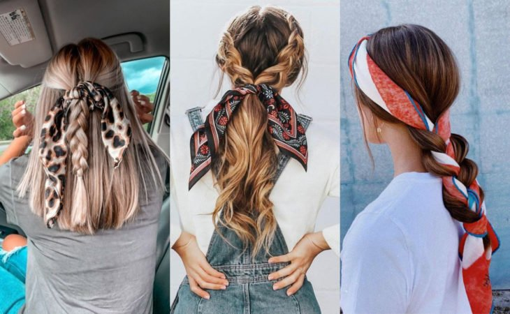 Pretty hair accessories; braid hairstyle with scarf