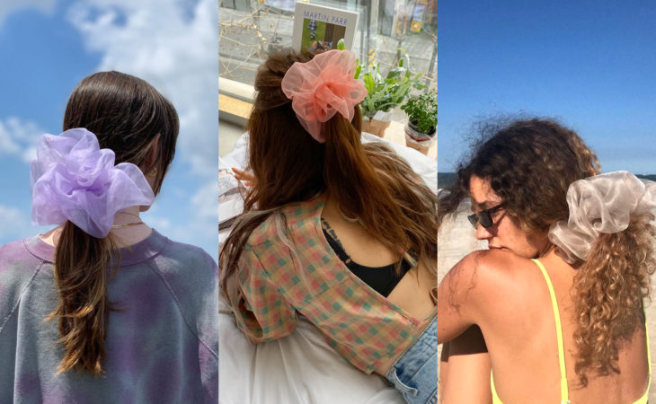 Pretty hair accessories; ponytail hairstyle with giant scrunchie