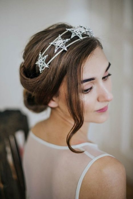 Bride with a low bun and a star headband