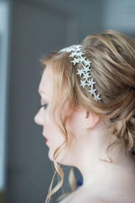 Blonde bride with high updo and star headband