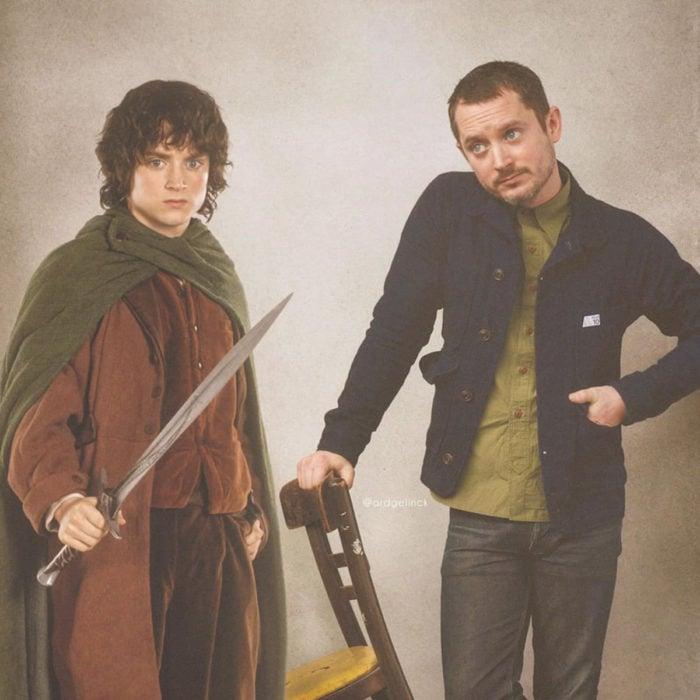 Fotografías de actores junto a personajes que interpretaron; El señor de los anillos, Frodo Bolsón, Elijah Wood