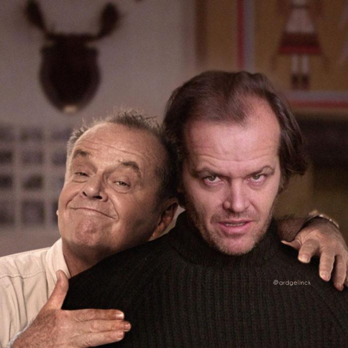 Fotografías de actores junto a personajes que interpretaron; El resplandor, The Shinning, Jack Torrance, Jack Nicholson