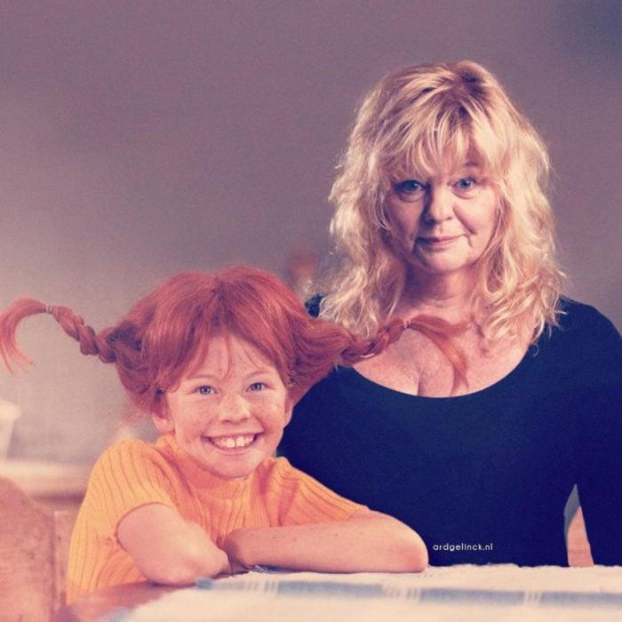 Fotografías de actores junto a personajes que interpretaron; Pippi Longstocling, Inger Nilsson