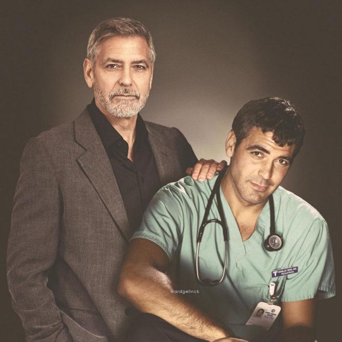 Fotografías de actores junto a personajes que interpretaron; George Clooney, Doug Ross, ER