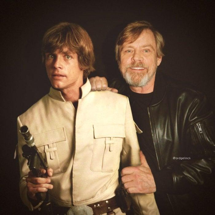 Fotografías de actores junto a personajes que interpretaron; Star Wars, La guerra de las galaxias, Luke Skywalker, Mark Hamill