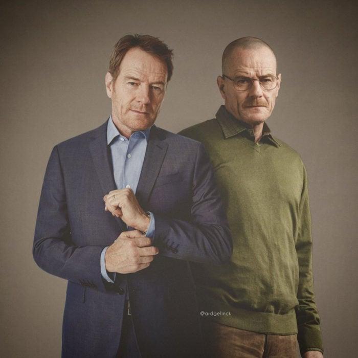 Fotografías de actores junto a personajes que interpretaron; Breaking Bad, Walter White, Bryan Cranston