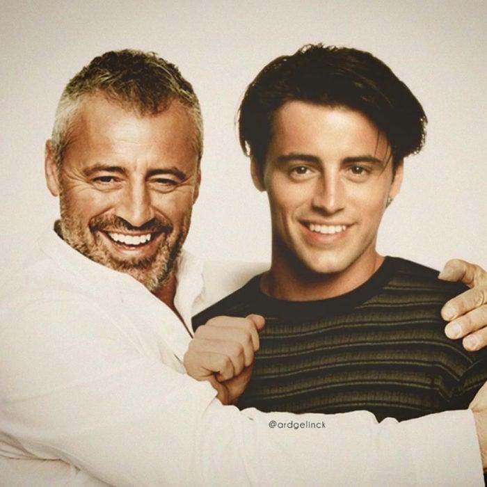 Fotografías de actores junto a personajes que interpretaron; Friends, Joey Tribbiani, Matt LeBlanc
