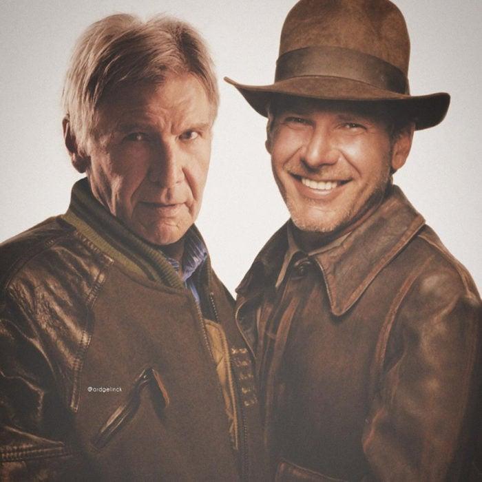 Fotografías de actores junto a personajes que interpretaron; Indiana Jones, Harrison Ford