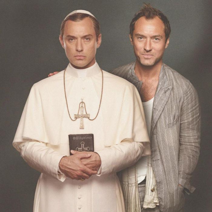 Fotografías de actores junto a personajes que interpretaron; The Ypung Pope, Pío XIII, Jude Law