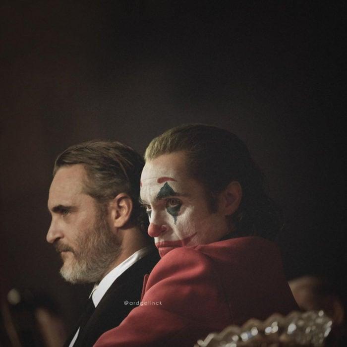 Fotografías de actores junto a personajes que interpretaron; Joker, Guasón, Joaquin Phoenix