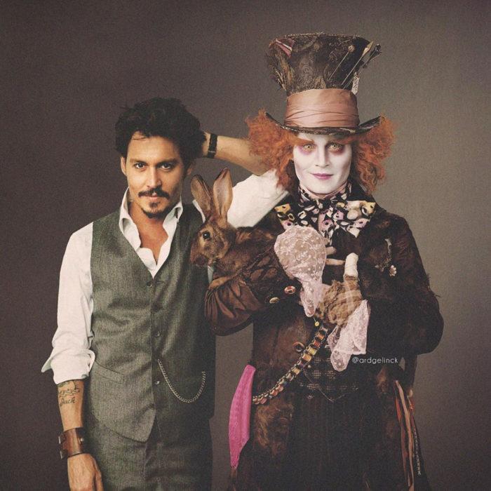 Fotografías de actores junto a personajes que interpretaron; Alicia en el país de las maravillas, Sombrerero loco, Johnny Depp