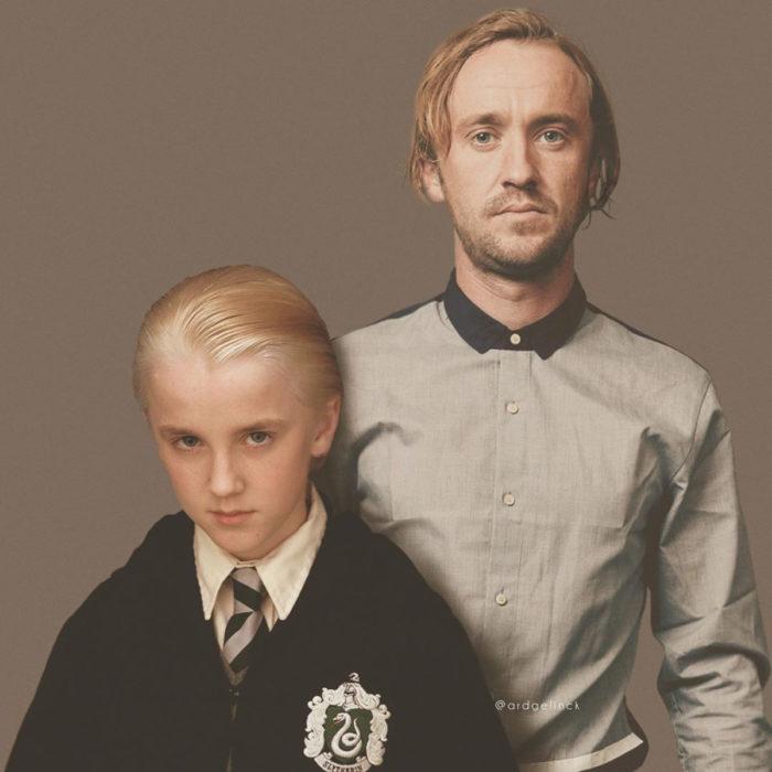 Fotografías de actores junto a personajes que interpretaron; Harry Potter, Draco Malfoy, Tom Felton